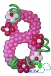 Цифра 8 из шариков с цветочками